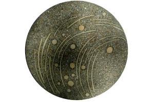 Terrazzoplatte rund / grau-weiß