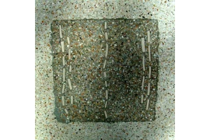 Terrazzoplatte viereck / grau-weiß