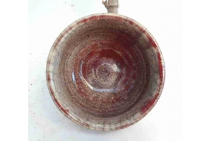 Schale in Raku Rot / Beige Ø 19 cm H 9,5