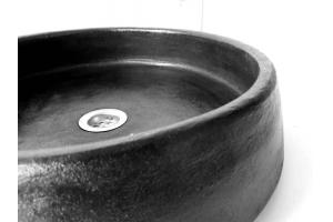 Rundes schwarzes Waschbecken, Ø 40 cm, H 14 cm