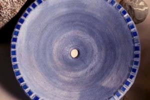 Waschbecken / Königsblau mit Rakumosaik Ø 40 cm Höhe 14 cm