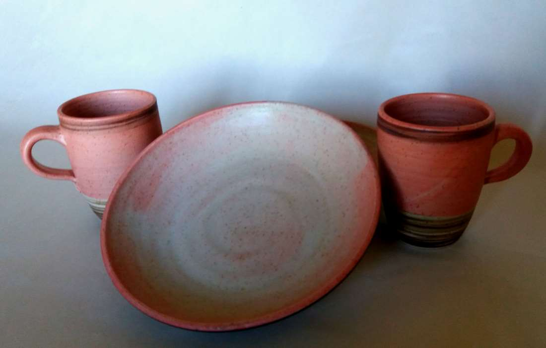 pasta teller tassen set rosa magnolie keramikatelier sch ning. Black Bedroom Furniture Sets. Home Design Ideas