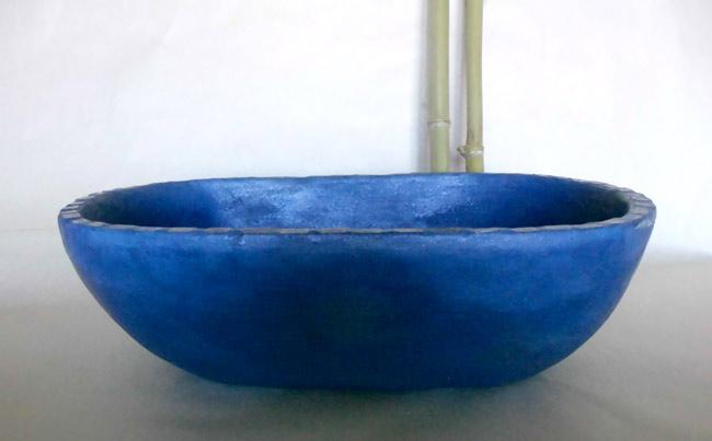 Waschbecken Oval Blau O 51 32 Cm Hohe 14 Cm Keramikatelier Schoning