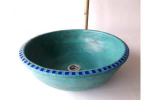Waschbecken / Kalypso / blaues Mosaik Ø 42 cm H 15 cm