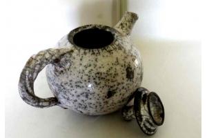 Teekanne / Raku / weiß-grau / 1 Liter