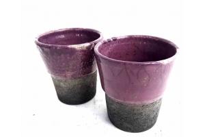 2 Zahnputz Becher / Raku / Lavendel /  Höhe 11,5 cm Ø 10 cm