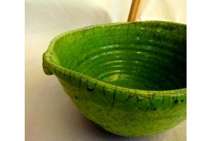 Schale in Raku/Limette Ø 26/16 cm