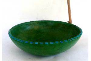 Waschbecken / moosgrün mit Rakumosaik Ø 46 cm H 12 cm