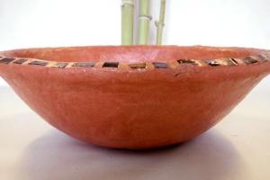 Waschbecken / orange-rot mit Rakumosaik  Ø 41 cm Höhe ca. 13 cm