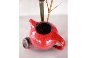 Teekanne / Raku / Red