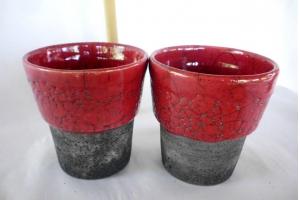 2 Zahnputz Becher / Raku / Rot /  Höhe 11,5 cm Ø 10 cm