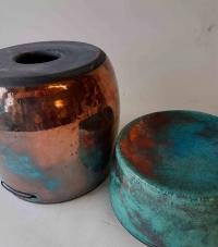 Urne / Raku / Türkis-Kupfer