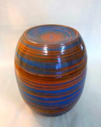 Tier Urne Rot/Blau glasiert