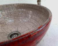 Waschbecken / Raku-Antik Rot/beige  Ø 32 cm Höhe 14 cm