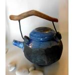 Teekanne / Raku / Blue