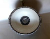 Waschbecken / oval weiß/schwarz-grau Ø 30/26 cm Höhe 14 cm