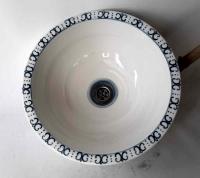 Waschbecken / weiß/Bordüre-blau Ø 39 cm Höhe 14,5 cm