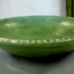 Waschbecken / gras-grün mit Rakumosaik Ø 43 cm H 15 cm
