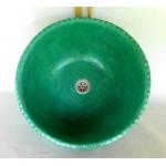 Waschbecken / türkis-grün mit Rakumosaik Ø 45 cm H 16 cm