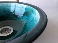 Waschbecken / Ägyptisch-grün/ Ø 30 cm Höhe 10,5 cm