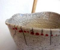 Schale in Raku/Weiß Ø 17 cm