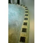 Waschbecken-oval / Grau-grün meliert mit Mosaik Ø 39/25 cm H 14 cm