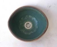 Ovales Waschbecken / Olivgrün Ø 26/23 cm  Höhe: 11 cm