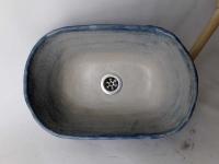 Waschbecken / Beige-Blue Oval Ø 38/25 cm Höhe 14 cm