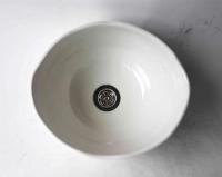 Ovales Waschbecken / weiß-creme Ø 28/24 cm Höhe 14 cm