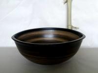 Waschschale oval / Schwarz-Braun Ø 35-39 cm Höhe 13 cm