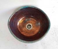 Waschbecken Oval / Raku / Kupfer  Ø 32/29 cm Höhe 14 cm