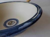 Waschbecken / Beige/Blau Ø 32,5 cm Höhe 11 cm