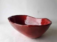 Waschbecken / Rot/Oval Ø 41/27 cm Höhe 13 cm