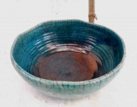 Rakuschale türkis-Kupfer Ø 30 cm H 14 cm