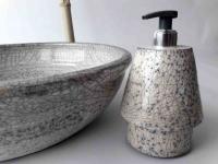 Seifenspender / Raku / weiß-grau