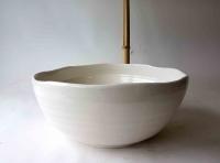 Ovales Waschbecken / weiß Ø 36/33 cm Höhe 14 cm