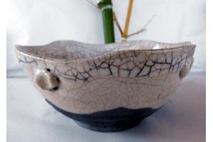 Schale in Raku/Weiß Ø 22 cm